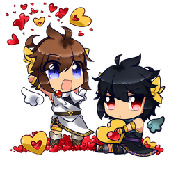 Pit And Dark Couple Chibi Sample By CattyMaddie