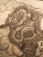 Indian ink dragon by littleholly23
