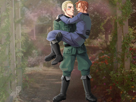Hetalia -Germany holding Italy by weaselyperson