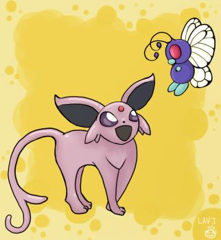 Espeon and Butterfree by lavi-n