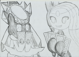 Meloetta and Diancie Playing Cards - sketch by lenoxmst