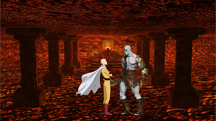 (Multiversal collapse Saitama meets Kratos by Cemal12