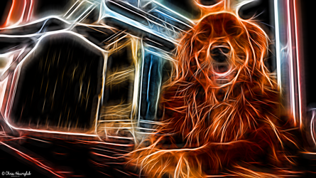 Neon Golden Retriever by destructiveburn