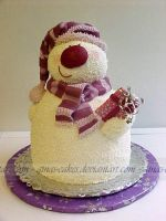 Snowman Cake by ginas-cakes
