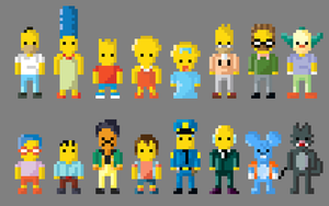 The Simpsons Characters 8 bit by LustriousCharming