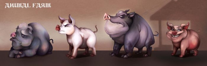 Animal Farm - Pig concepts by CaramelFrog
