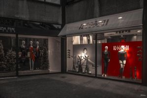 Mannequins in the Antwerp night by Rikitza