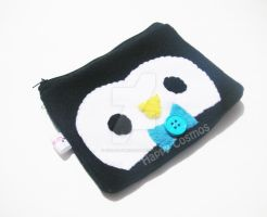 Blue Tie Penguin Pouch by CosmiCosmos