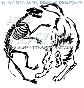 Wolven Life And Death Yin Yang Design by WildSpiritWolf