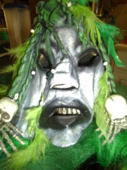 Neon Green Leather Voo Doo Mask by archaicarts
