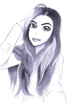 Drawing of a girl by Yaaxian