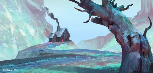 May-Sketch-A-Day - Hillside Home by SourShade