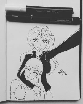 Sunset Shimmer anos Twilight - Inktober  by draftkid