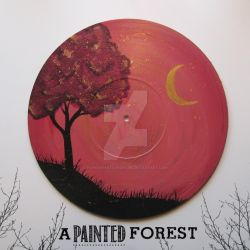 Vinyl Record Painting - Orange and Purple Tree by paperheartsyndrome