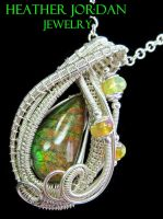 Ammolite and Sterling Silver Wire-Wrapped Pendant by HeatherJordanJewelry