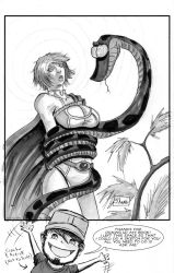 One Sketch 44: Power Girl and Kaa by Shono