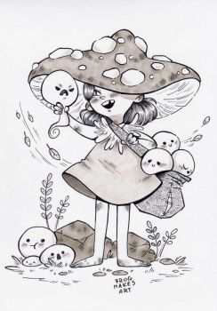 Inktober day 1: Seasonal witch by FrogMakesArt