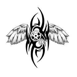 tribal steampunk tattoo design by Spiked-Fox