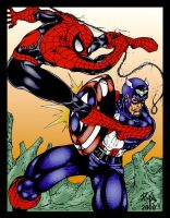 Spidey vs. Cap by castortroy3497