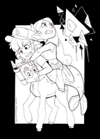 Inktober - Dipper and Mabel (Day #28) by skyrore1999