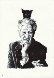 Morgan Freeman. Experiment phase i: base by Nnusia