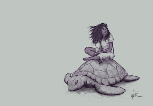 Girl on Seaturtle by DenzelAJackson