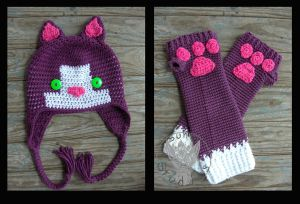 Purple cat set by TheCrochetDragon