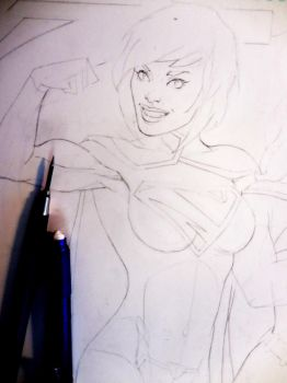 On my drawing board today. . .Supergirl! by aethibert