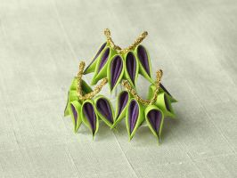 Green and purple bamboo kanzashi by elblack
