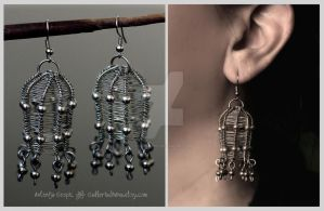 Wire cage earrings by Faeriedivine