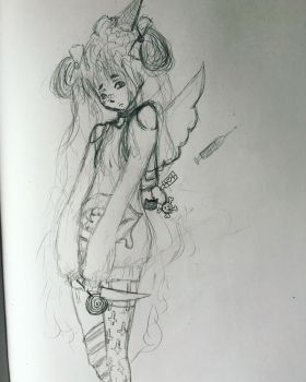 Pastel goth sketch by peas12344