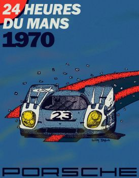 Porsche 917 Pen and Ink Poster by CarraraDesign