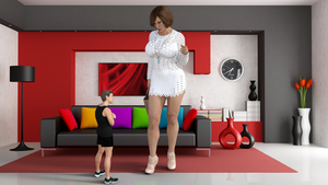 Mini giantess Mom is going out by Big-ELSA