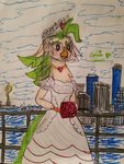 Captain Celaeno in her Wedding Dress by JohnG15