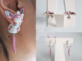Sylveon Pokemon Polymer Clay Earrings by ArtzieRush