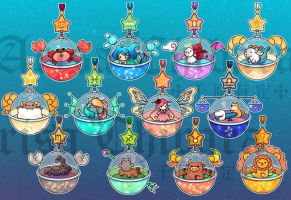Horoscope Gachapon Acrylic Charms by arisa-chibara