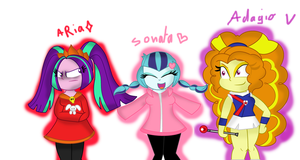 Wario and Dazzlings by FannyDianny
