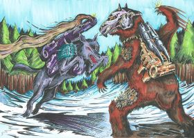 Carnivac Vs Chainclaw - coloured by JoeTeanby