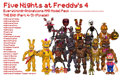 MMD- E_A FNaF 4 PACK (THE END FINALE!) (DL) by OscartheChinchilla