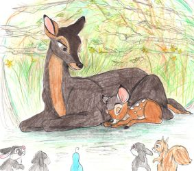Bambi with his Mother by greydeer2010