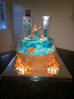 Bottom Layers of percy jackson cake by dolci-designs
