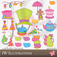 Mad Hatter Tea Party Set by jdDoodles