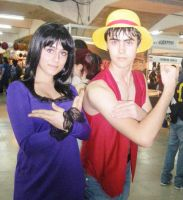 Nico Robin y Moneky D Luffy Cosplays One Piece by Moskita