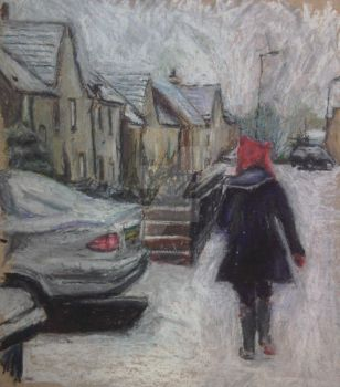 Walking in the Snow by Art-By-Ashley-Martin
