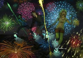 Fireworks In The Suburbs, 2080 by simondrawsstuff