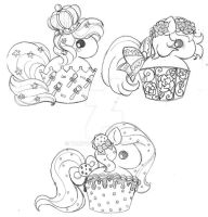 Moar Cupcake Ponies ::Sketch:: by YamPuff