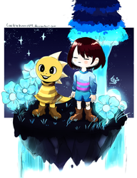 Frisk and Monster kid in Waterfall by Kirby-Popstar
