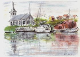 Fiskebackskil with church and sailboats by Bragerygg
