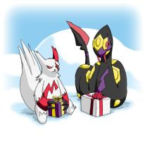 Pokemon Christmas scene No. 1 by mew-at-heart