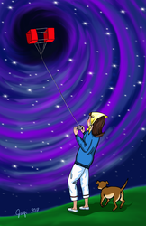 kite flying in a black hole by jaqi0nightshade